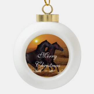 Horses running at ocean sunset ceramic ball christmas ornament