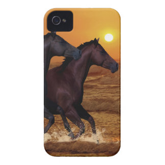 Horses running at ocean sunset iPhone 4 covers