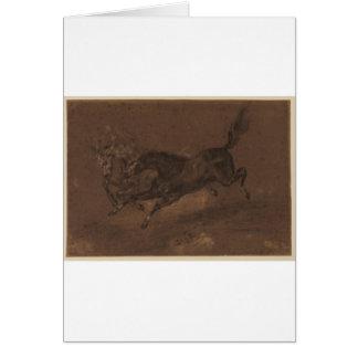 Horses running by Eugene Delacroix Greeting Card