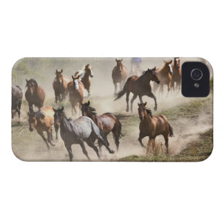 Horses running during roundup, Montana iPhone 4 Cover
