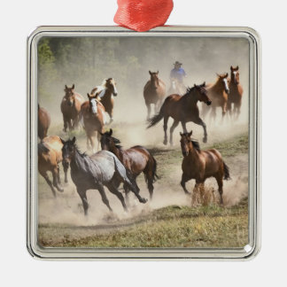 Horses running during roundup, Montana Silver-Colored Square Decoration