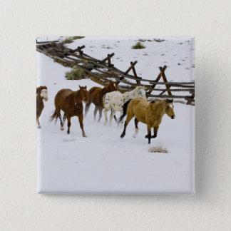 Horses Running in Snow 15 Cm Square Badge