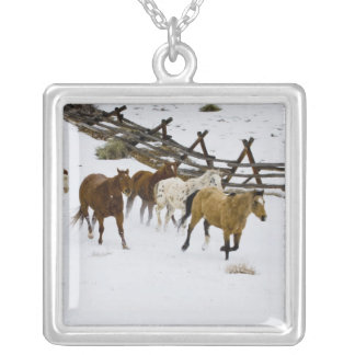 Horses Running in Snow Silver Plated Necklace