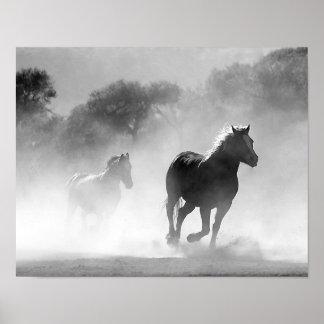 Horses Running in the Fog Black and White Poster