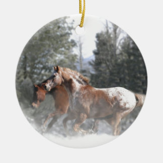 Horses running in the snow christmas ornament