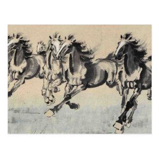 Horses running postal