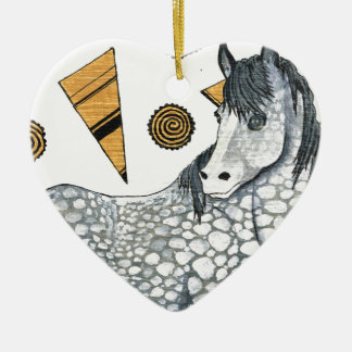 Horses: Shimmering silver dapples, swirling shapes Ceramic Heart Decoration