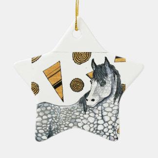 Horses: Shimmering silver dapples, swirling shapes Christmas Ornament