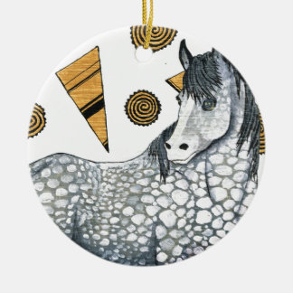 Horses: Shimmering silver dapples, swirling shapes Christmas Ornament