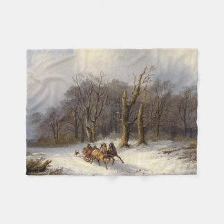 Horses Sleigh Ride Forest Winter Fleece Blanket