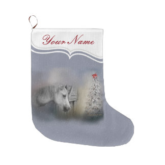 Horses: Snowy Christmas Winter Horse Lovers Large Christmas Stocking