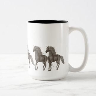 Horses Two-Tone Coffee Mug