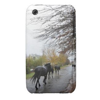Horses walking down Oak Street in rain, Greyton, iPhone 3 Case
