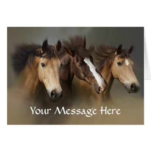 Horses Wild Trio Greeting Card
