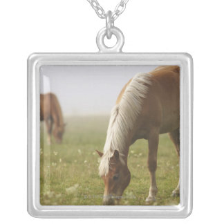 horses wildflower meadow morning mist Piano Silver Plated Necklace