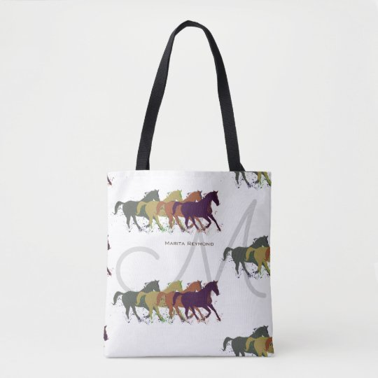 horses with name and initial on white tote
