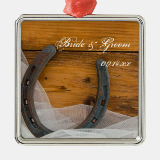 Horseshoe and Bridal Veil Country Barn Wedding Christmas Ornament