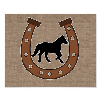 Horseshoe and Horse Faux Burlap Poster