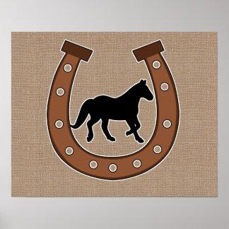 Horseshoe and Horse Faux Burlap Poster