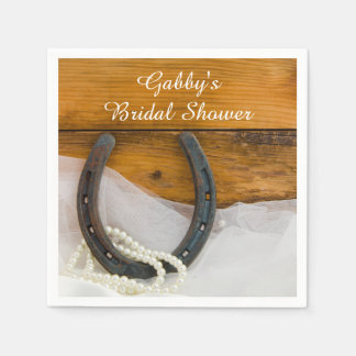 Horseshoe and Pearls Country Western Bridal Shower Disposable Serviette