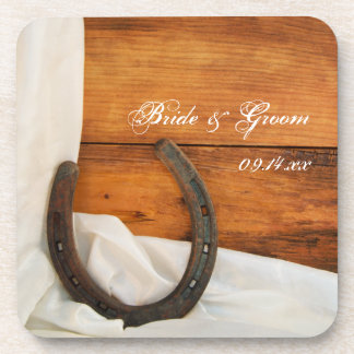 Horseshoe and Satin Country Barn Wedding Coaster