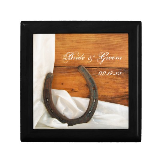 Horseshoe and Satin Country Barn Wedding Gift Box