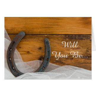 Horseshoe and Veil Will You Be My Bridesmaid Greeting Card