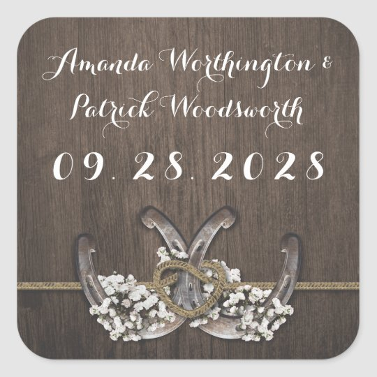 Horseshoe Baby's Breath Rustic Wedding Favour Square Sticker