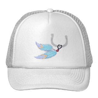 Horseshoe Blue Feathers Hats