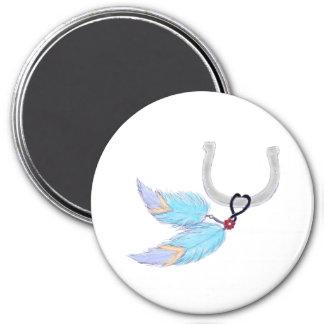 Horseshoe blue feathers Magnet