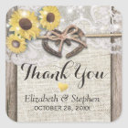 Horseshoe Burlap Lace Sunflowers Wedding Thank You Square Sticker