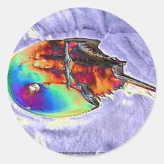 Horseshoe Crab Foil Design Round Sticker