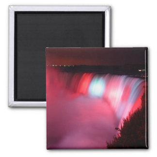 Horseshoe Falls At Niagara Red Blue Lights Magnet
