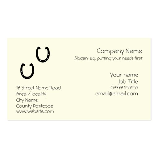 Create your own blacksmith business cards horseshoe generic business card template flashek Images