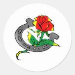 Horseshoe & Rose Tattoo Round Sticker