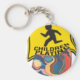 Horseshoe Slow Children Playing Basic Round Button Key Ring