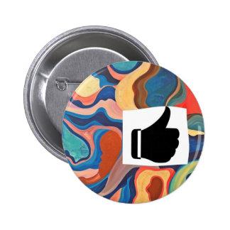 Horseshoe Thumbs Up 6 Cm Round Badge