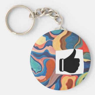 Horseshoe Thumbs Up Basic Round Button Key Ring