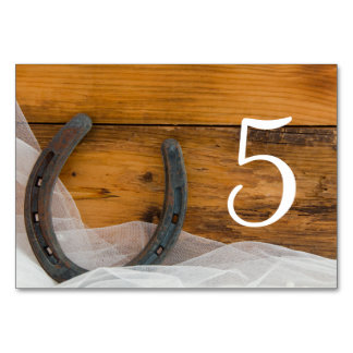 Horseshoe Veil Country Barn Wedding Table Numbers Table Cards