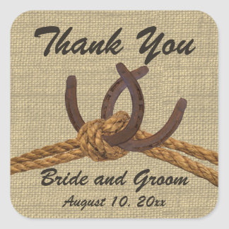 Horseshoes and Rope Tie the Knot Square Sticker