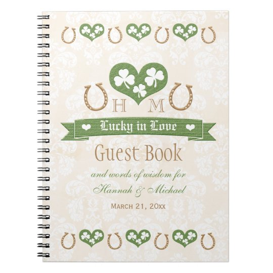 Horseshoes and Shamrock Wedding Guest Book Spiral Notebooks