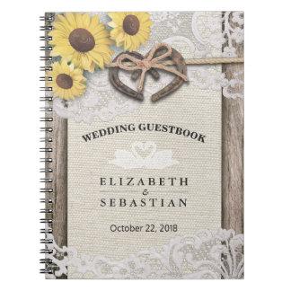 Horseshoes Burlap Lace Sunflower Wedding Guestbook Notebooks