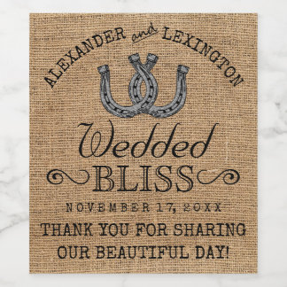 Horseshoes Burlap Look Rustic Country Wedding Wine Label