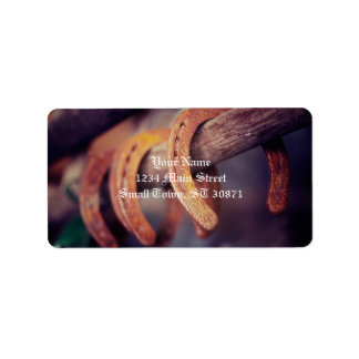 Horseshoes on Barn Wood Cowboy Country Western Address Label
