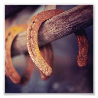 Horseshoes on Barn Wood Cowboy Country Western Art Photo
