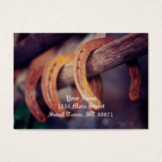 Horseshoes on Barn Wood Cowboy Country Western Business Card