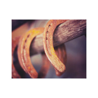 Horseshoes on Barn Wood Cowboy Country Western Canvas Prints