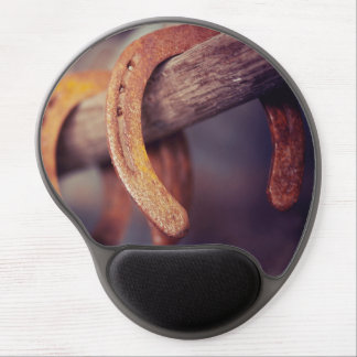 Horseshoes on Barn Wood Cowboy Country Western Gel Mouse Mat