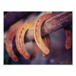 Horseshoes on Barn Wood Cowboy Country Western Photo Print