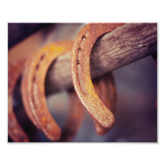 Horseshoes on Barn Wood Cowboy Country Western Photographic Print